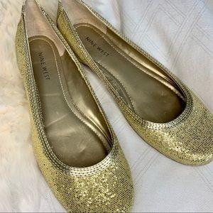 NWOT Nine West Gold Ballet Flat Size 7